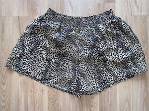 Womens High Waisted Leopard Print Dressy Shorts Size 16 Bnwt