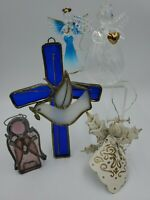 Angel's Hand Blown Glass Stained Glass Cross Angel Christmas Tree Ornaments
