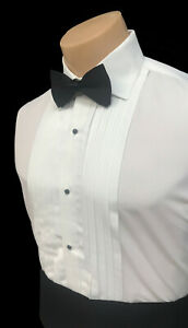 Men's Ivory Tuxedo Shirt Laydown Straight Point Collar Pleated Front Off-White
