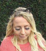 Black Gold Lace Cat Animal Ears Headband Kawaii Pastel Goth Hair Band Boho 1962