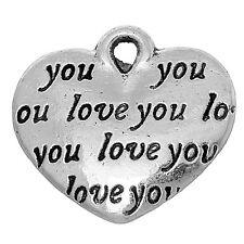 """Lot 5 Pendentif Coeur Argenté """" i love you """" 14mm x 12mm Breloques Charms"""