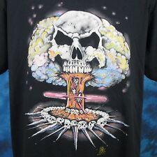 vintage 80s SKULL ATOMIC BOMB PAPER THIN T-Shirt L/XL nuke biker skeleton punk