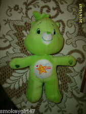 """Oopsy 11"""" Green Care Bear Plush Toy 2007 Nanco - very rare, limited style"""
