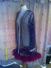 Drag Queen/Cabaret SHORT Black/silver glitter coat with red feathers 20/22