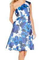 Adrianna Papell Womens Dress Blue Size 16 A-Line Floral Print Pleat $229- 135