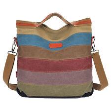 Women Canvas Bags Striped Crossbody Bags Vintage Color Canvas Tote Handbags