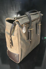 $2200 Belstaff Dorchester Leather Trim Large Satchel Bag waxed cotton genuine