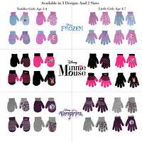 Disney Assorted Designs 4 Pair Gloves/Mittens Cold Weather Set, Girls, Age 2-7