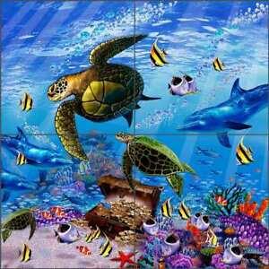 Undersea Tile Backsplash John Enright Turtle Art Ceramic Mural BC-JE11