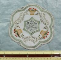 Antique Lace, Gold Metallic & Silk Society Work Hand Embroidered Doily~Baskets