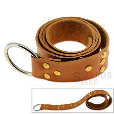 Studded Templar Belt 7oz Cordura Leather Ring Loop Adjustable Tanned Medieval