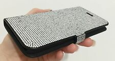 Clear Made with Swarovski Crystal Glitter Shiny Wallet Case Cover Flip Galaxy S7