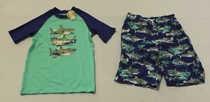 Children's Place Boys Swimwear Shark Swim Set AL8 Blue/Green Large (10-12) NWT