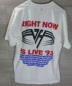 VAN HALEN - RIGHT NOW 93 Original Rock Concert Tour T-Shirt Vintage L W/Venues