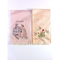 Vintage Embroidered Kitchen Towels Pink & Peach Napkin