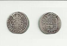 Escasa moneda de 2 Reales de Carlos III  El pretendiente 1711 Barcelona plata