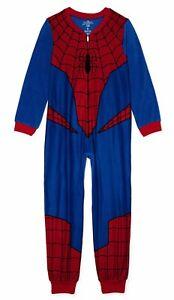 Spiderman Pajamas Size 8 10-12 Boys One Piece Union Suit Blanket Sleeper NEW NWT