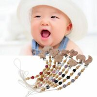 Dummy Clip Pacifier Chain Holder Natural Organic Beech Wood Baby Newborn Gift