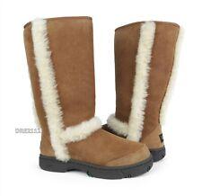 UGG Australia Sunburst Tall Chestnut Suede Fur Boots Size 9 *NIB*