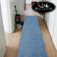 THICK INV CHEAP RUNNER HALLWAY PLAIN blue CORRIDOR width 50-150 cm RUGS Carpets