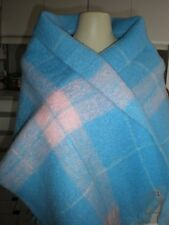 BRAND NEW HUGE SHAWL SCARF LIGHT BLUE WITH PINK MOHAIR WOOL SOFT MADE IN JAPAN