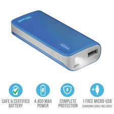 POWER BANK TRUST BLU 4400 mAh REALI TORCIA LED 2 USB CARICA BATTERIA ESTERNA 2.1