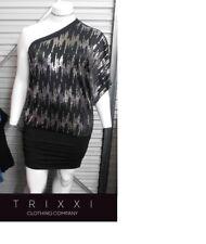 TRIXXI Mini Glamour 1 Shoulder Dress Large Black Silver Diva Stretch Sexy