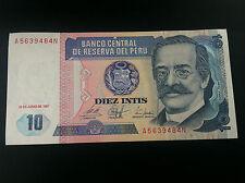 BANCO CENTRAL DE RESERVA DEL PERU BANKNOTE - 1986 DIEZ 10 INTIS !