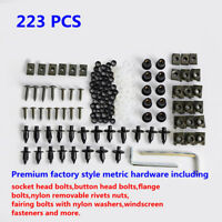 Flat-head Style Motorcycle Hardware Button Head Bolts Rivets Nuts Fastener Kit