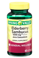 SPRING VALLEY ELDERBERRY SAMBUCUS SOFTGELS, 1250 MG, 60 COUNT EXP 2021 +