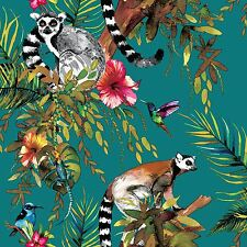 LEMUR WALLPAPER - TEAL - HOLDEN 12402 IMAGINARIUM FOREST