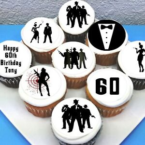 """Gangsters & Gals Edible Icing Cupcake Toppers - 2"""" - PRE-CUT - Sheet of 15"""