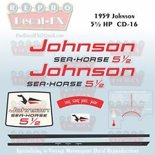 1962-63 Johnson 5.5HP CD-19//20 SeaHorse Outboard Repro 4 Pc Marine Vinyl Decal ½