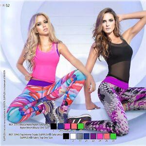 Babalu Sheer Mesh Workout top/w MetallicTrim! Crossfit, yoga, gym! Hot!
