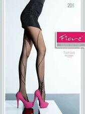 FIORE  TAMISA W/ DESIGNER PATTERN LEG 20 DENIER PANTYHOSE TIGHTS 3 SIZES STEEL