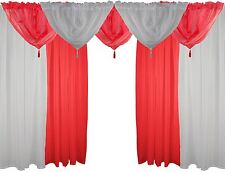 Blanc & rouge 9 pièces Ensemble voile 183cm à passants dissimulés RIDEAUX &