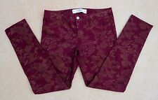 NEW Abercrombie Womens Floral Skinny Jeans Size 6 Burgundy & Gold Pants