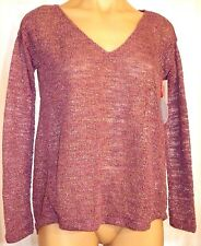 New Aeropostale S, small V-neck long sleeve sheer glittery purple tunic sweater