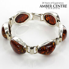 Brown Baltic Amber with Yellow Sparkles Sterling Silver 925-RRP£339!!! -BR036