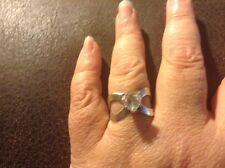 Kathy Levine Heart Diamonique DQ Cubic Zirconis Sterling Silver Ring Size 6 QVC