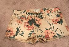 CURRENT ELLIOTT THE BOYFRIEND SHORT 26 NWOT HAYSTACK FLORAL JEAN SHORTS FRINGE
