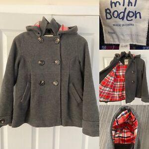Mini Boden Girls 11-12 Grey Winter Coat Duffle Pea Coat Jacket Warm