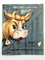 Vintage Carlton Cow Bull Get Well Soon Comedy Funny Card M422