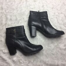 a2fb07823d4 Cole Hann Womens Size 10 Ankle Boots Black Chunky Heel Gold Buckle D3