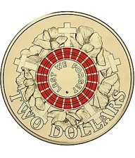 2015 Australia Red Anzac Two $2 Dollar Coin Uncirculated