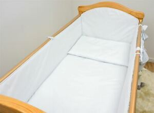 COT | COT BED ALL ROUND LARGE COT BUMPER - PLAIN BLUE | PINK | CREAM | WHITE
