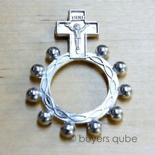 """Beautiful Crucifix Pocket Rosary Ring 10 Beads Silver Plate 1 3/4"""" H"""