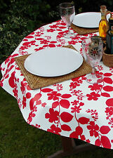 1.4x2.5m OVAL RED FLOWER ON WHITE OILCLOTH / PVC WITH PARASOL HOLE