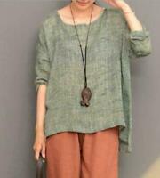 Women Linen Loose FIT Long Flax Tunic Long Sleeve Tops Shirt Crew Neck Shirts nW