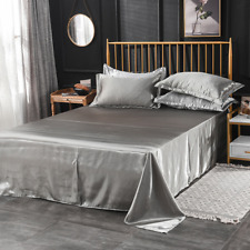 Faux Silk Satin Flat Sheets Bed Sheet Bedspread Comfort Solid Color Bed Covers